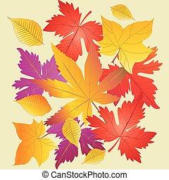 padrão, folhas, árvore, amarela, laranja, vetorial, outono, maple, vermelho
