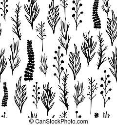 padrão, folhas, branca, pretas, seamless