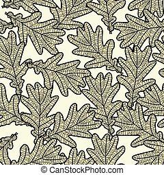 padrão, folhas, carvalho, seamless