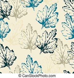 padrão, folhas, fundo, luz