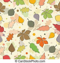 padrão, folhas, leaves., seamless, outono, experiência., vário, branca