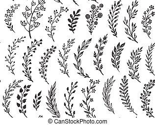 padrão, folhas, mão, desenhado, seamless, branches.