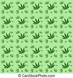 padrão, folhas, marijuana, fundo, seamless