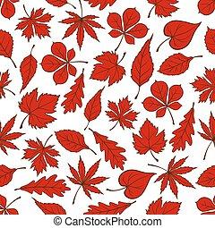 padrão, folhas, outonal, seamless, fundo, vermelho