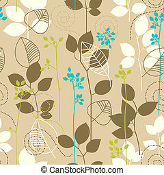 padrão, folhas, outono, seamless, retro