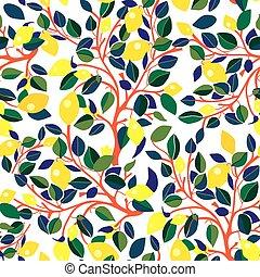 padrão, folhas, -, seamless, desenho, limões