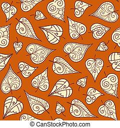 padrão, folhas, seamless, doodle
