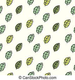 padrão, folhas, seamless, experiência verde, branca