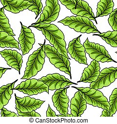 padrão, folhas, seamless, experiência., verde branco