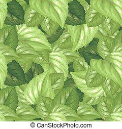 padrão, folhas, seamless