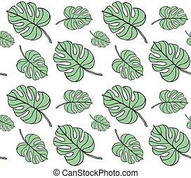 padrão, folhas, seamless, monstera, vetorial, palma, fundo, branca