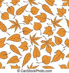 padrão, folhas, seamless, outono, fundo, laranja