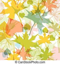 padrão, folhas, seamless, outono