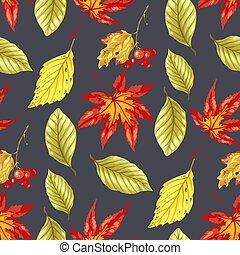 padrão, folhas, seamless, wirh, outono, luminoso, vetorial