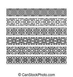 padrão, fronteiras, pretas, árabe