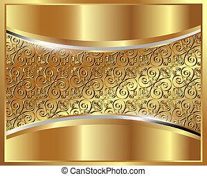 padrão, fundo, ouro, metálico