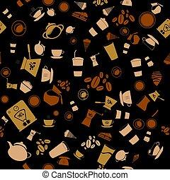 padrão, fundo, seamless., ícone, vetorial, café