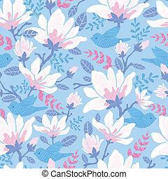 padrão, fundo, seamless, flores, pássaros