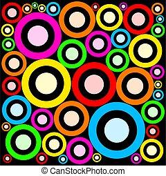 padrão, funky, anéis, retro, abstratos