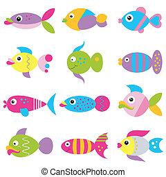 padrão, funky, peixe, coloridos, caricatura