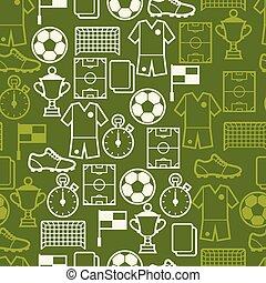 padrão, futebol, symbols., seamless, esportes