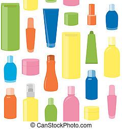 padrão, garrafas, seamless, cosmético