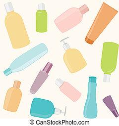 padrão, garrafas, seamless, cosméticos