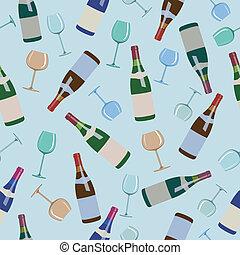 padrão, garrafas, seamless, vinho