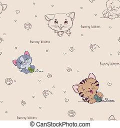 padrão, gatos, caricatura, seamless, cute