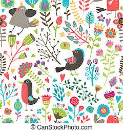 padrão, hand-drawn, flores, seamless, pássaros