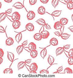 padrão, hand-drawn, seamless, cereja