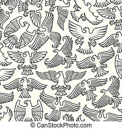 padrão, heraldic, fundo, águias