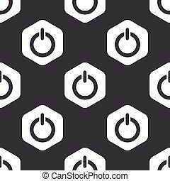 padrão, hexágono, pretas, poder