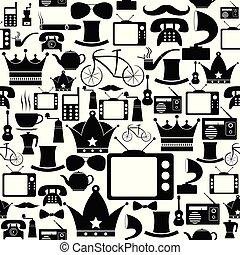 padrão, icon., retro, fundo, seamless
