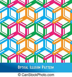 padrão, ilusão óptica, seamless