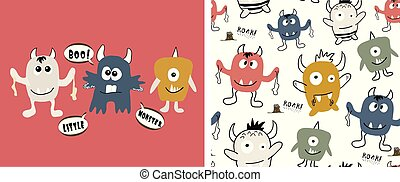 padrão, impressão, monsters., seamless, ilustração, monstro, cute, jogo, vetorial