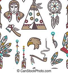 padrão, indigenas, símbolos, cultura, americano, nativo