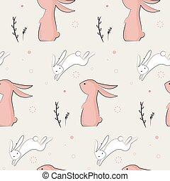 padrão, infantil, coelhos, cute