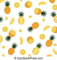 padrão, isolado, ilustração, vetorial, fundo, abacaxi, branca