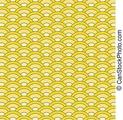 padrão, japoneses, seamless, ondas