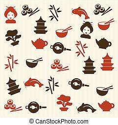 padrão, japoneses, seamless