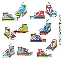 padrão, jogo, sneakers, desenho, engraçado