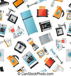 padrão, lar, vetorial, seamless, eletrodomésticos