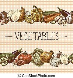 padrão, legumes, borda, seamless