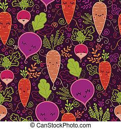 padrão, legumes, seamless, fundo, raiz, feliz