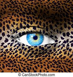 padrão, leopardo, rosto humano
