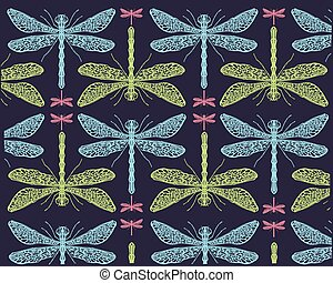 padrão, libélulas, f