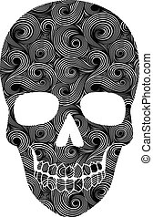 padrão, linha arte, cranio
