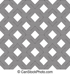 padrão, linha, branca, pretas, seamless