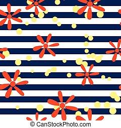 padrão, listrado, flores